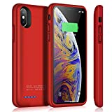 Battery Case for iPhone X/XS, TAYUZH 4000mAh Slim Portable Protective Charging Case Rechargeable Extended Battery Pack Magnetic Charger Case Compatible for iPhone X/XS/10 (5.8 inch) - Red
