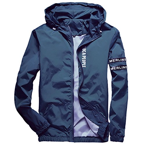 Homaok Men's Lightweight Breathable Jacket X-Large Sapphire (Light Sapphire Pale)