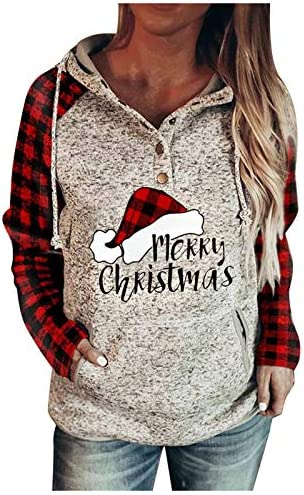 Christmas Womens Leopard Sweatshirt Print Stitching Blouse Shirt Pocket Long-Sleeved Hooded Pullover Tops Plus Size