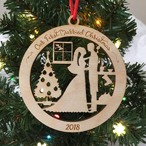 bride and groom first married christmas 2018 christmas ornament newlywed christmas