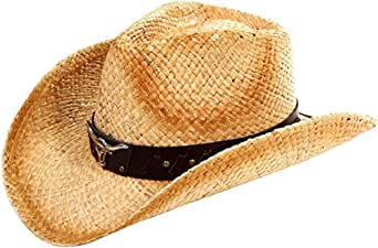 Simplicity Summer Vented Western Straw Cowboy Cowgirl Hats Beige with Bull