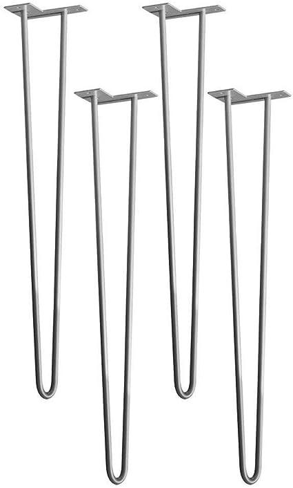 Argento HENGMEI 4x71cm Tre-rod Forcina Gambe Piedini da tavolo a forcina mobili fai da te metallo Gambe tornanti Sostitutive Piedini per Tavolino tavolo da pranzo
