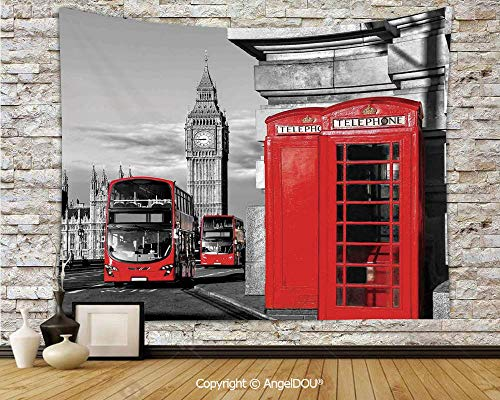 AngelDOU London Dorm Decor Wall Hanging Tapestry London Telephone Booth in The Street Traditional Local Cultural Icon England UK Retro for Living Room Bedroom.W59xL51.2(inch) -