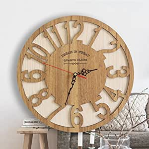 Artes reloj de pared Reloj Grande, Reloj Creativo de Madera, Sala de Arte Abstracto Arte Mudo Personalidad Reloj Moderno ...