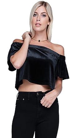 8492e1816717bb Harem Girl Velvet Off Shoulder Crop Top Black at Amazon Women s ...