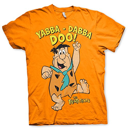 Officially Licensed Yabba-Dabba-Doo T-Shirt (Orange), X-Large