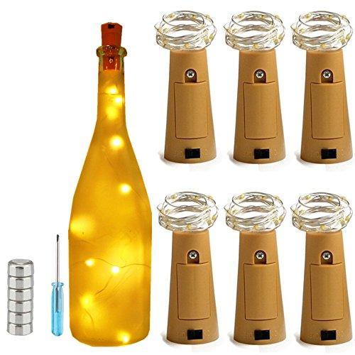6 Pack Warm White 20 LED Wine Bottle Lights,Ultra Bright Copper String Starry Cork Lights, Table Centerpieces For Bottle DIY,Party,Wine Decor,Christmas,Halloween,Wedding Decoration (Diy Halloween Lanterns)
