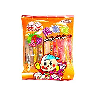 Jin Jin Fruit Jelly Filled Strip Straws Candy - Many Flavors! (2 Pack)
