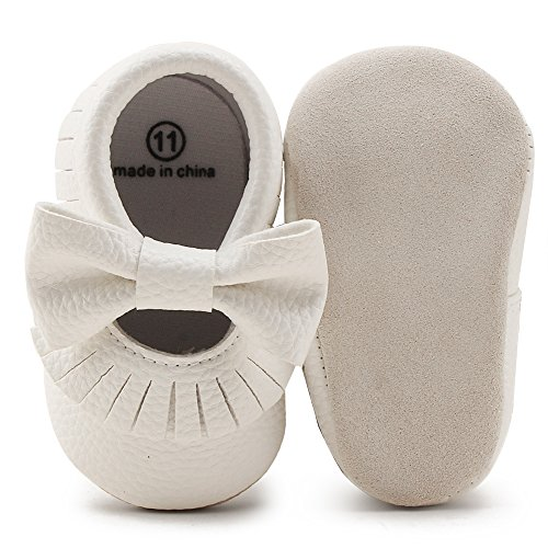 Delebao Infant Toddler Baby Soft Sole Tassel Bowknot Moccasinss Crib Shoes (6-12 Months, White03)