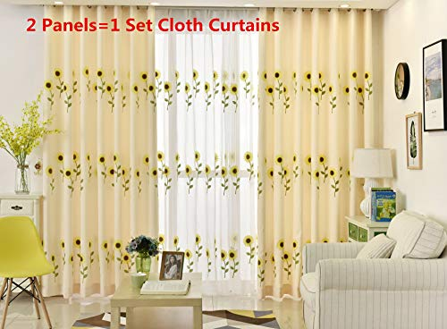 AiFish 2 Pieces Embroidered Sunflowers Semi Blackout Curtains for Girls Room Floral Kids Bedroom Room Darkening Window Treatment Grommet Panels and Drapes for Living Room Set of 2 Panels 39 by 63 Inch