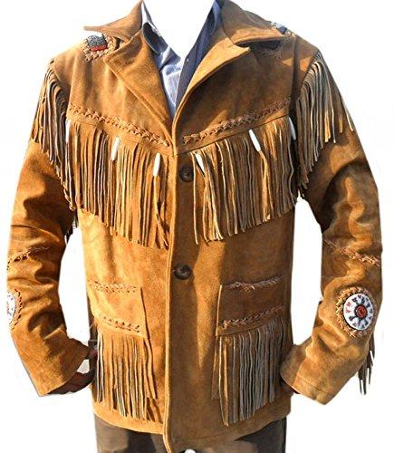 Western Jacket Leather Indian - coolhides Men's Cowboy Leather Jacket Beads, Fringes and Bones XX-Large