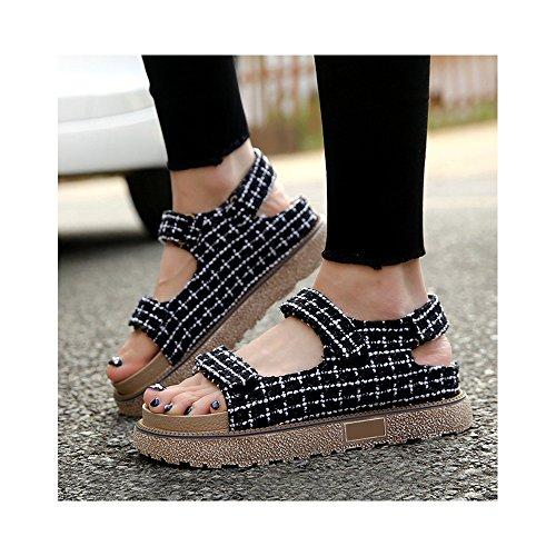 OCHENTA - Velcro - gruesa corteza del mollete - lino de cuadrícula - zapatos de Roma Negro