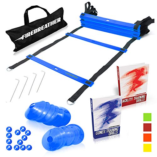 Agility-Ladder-and-Cones-by-FireBreather-Great-Training-Equipment-to-Exercise-Speed-in-Soccer-Football-Sports-Workout-Set-of-15ft-Ladder-12-Markers-4-Pegs-Carrying-Bag-Drills-Ebook