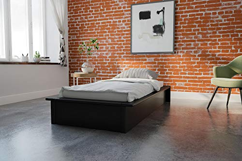 DHP Maven Platform Bed with Upholstered Faux Leather and Wooden Slat Support, Twin Size - Black ()