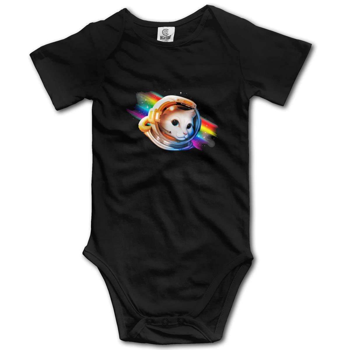 Astronaut Cat Baby Romper 0-18 Months Newborn Baby Girls Boys Layette Rompers Black