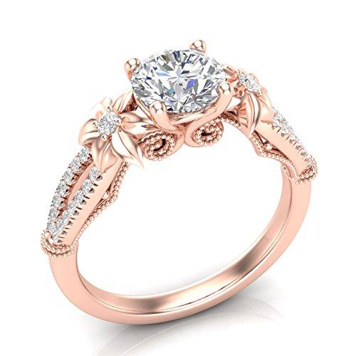 (Flower Engagement Ring Vintage Filigree Ring Floral Petal Ring Rose Gold Ring 14K Split Shank Engagement Ring Vintage Milgrain Engagement Ring Art Deco Forever One Colorless Moissanite Center Ring Her)