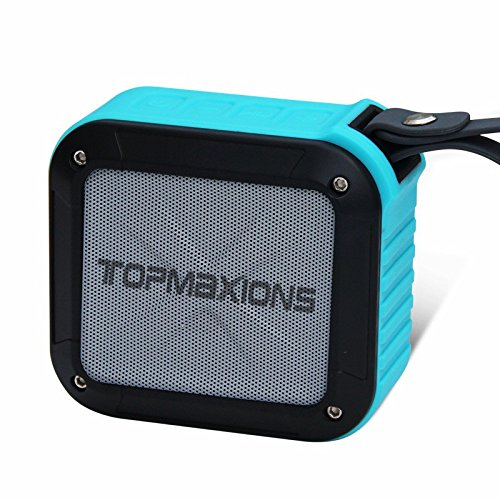 Topmaxions 111 Portable Bluetooth 4.0 Speakers,Mini Wireless Outdoor and Shower Waterproof Sport Speaker Minidisc Players with 5-10 Hour Rechargeable Battery Life,Pairs with All Bluetooth Devices,Blue