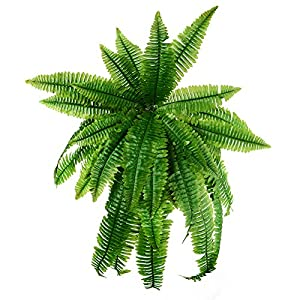 31.5'' Artificial Boston Fern Fake Grass Leaves Plant Greenery Outside Planter for Home Indoor Garden Office Party Decor 58