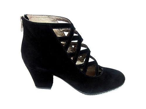 Gennia XUPPA - Botas & Botines de Piel con Tacon Ancho 6 cm, Punta Redonda Cerrada para Mujer y Cierre con Cremallera Trasera: Amazon.es: Zapatos y ...