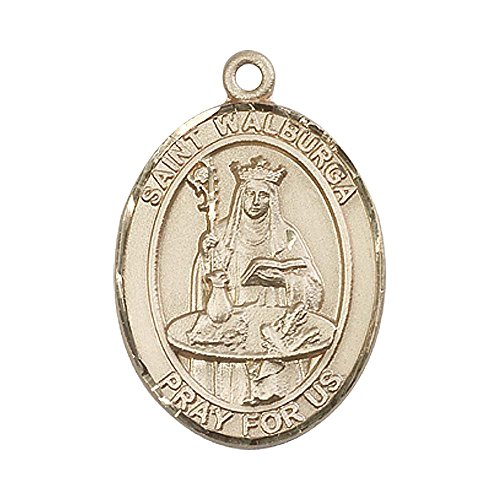 Cough Guard - 14kt Gold St. Walburga Medal. Patron Saint of Coughs/Storms