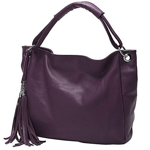 Sac Frange Cours Taille wealsex Main Tout Cuir PU Fourre Violet Femme D'épaule 45 9 Sac de 30 CM à Sac Shopping Cabas OL Sacoche UwwxAq86t