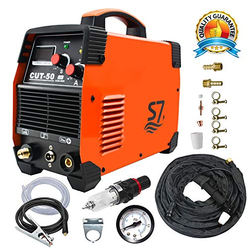 Plasma Cutter, 50A Inverter AC-DC IGBT Dual Voltage 110/220V Cut50 Professional Fashion Luxury Portable Welding Machine With Intelligent Digital Display Free Accessories