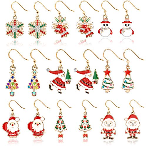 9 pairs Christmas Drop Dangle Earrings Holiday Jewelry Set gifts for Womens Girls,Thanksgiving Xmas Jewelry