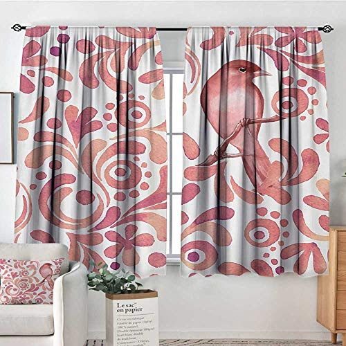 Elliot Dorothy Pattern Curtains Watercolor,Cute Bird on Tree Branch Floral Swirls Curves Little Dots Wildlife,Coral Dried Rose White,Rod Pocket Curtain Panels for Bedroom & Kitchen 42