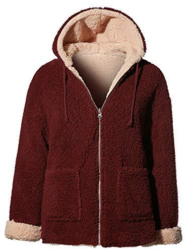 OLLIE ARNES Women's Versatile Utilitarian Warm Anorak Drawstring Parka Jacket Reversible BLUSHWINE M