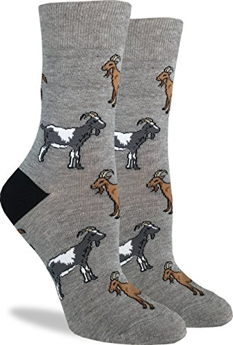 Good Luck Sock Women's Goats Crew Socks - Grey, Adult Shoe Size 5-9 (Goat Gifts Christmas For)
