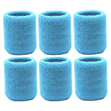 Elehere 2018 New Sweatband Wristband for Sports Basketball Football Absorbent Party Outdoor 3.5'' Pack of 6 (Blue)