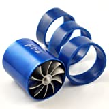 LOOYUAN F1-Z Double Turbine Turbo Charger Air Intake Gas Fuel Saver Fan + 3 Rubber Holder For Car