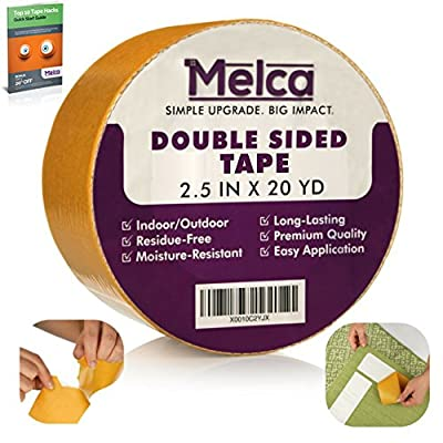 Melca Double Sided Gripper Tape - Sticky Rug / Carpet Double-Sided Adhesive, 2.5 Inch (20 Yards)