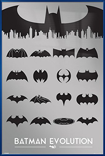 Batman Evolution - Framed DC Comics Poster / Print (The Different Batman Logos Over The Years) (Printed With Silver Metallic Ink) (Size: 24