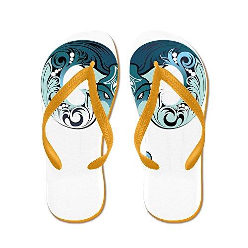 Truly Teague Mens New Year Goat 2015 Rubber Flip Flops Sandals Orange 9qAzVTpV