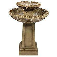 Sunnydaze Beveled Flower 2-Tier Birdbath Water Fountain, 28 Inch Tall