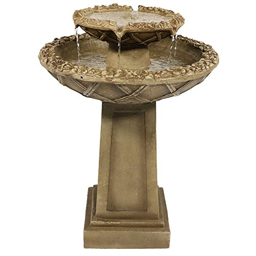 Sunnydaze Beveled Flower 2-Tier Birdbath Water Fountain,