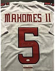 Autographed/Signed Patrick Mahomes Texas Tech Red Raiders White Football Jersey JSA COA