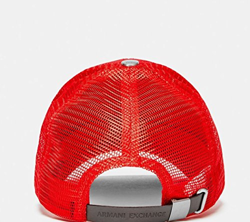 5def006f19e Armani Exchange AIX Leather Patch Baseball Hat Cap in Carmine Red One Size