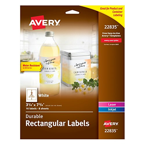 "Avery Water-Resistant Labels, 3-1/4"" x 7-3/4"", Permanent Adh"