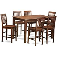 East West Furniture DUVN7H-MAH-W 7-Piece Gathering Table Set, Mahogany Finish