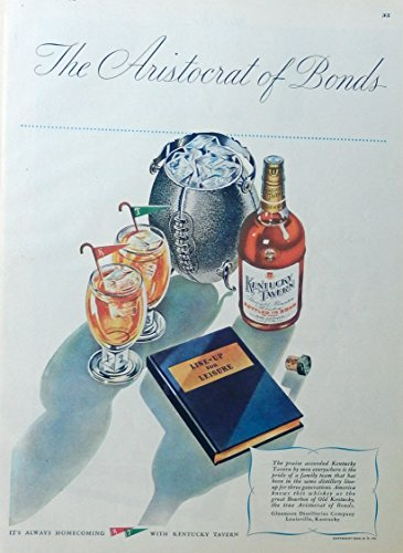 Kentucky Tavern Whiskey, 40's print ad. full page color illustration (football, line up for leisure) this is a beautiful vintage print ad. from a 1946 edition of Esquire -