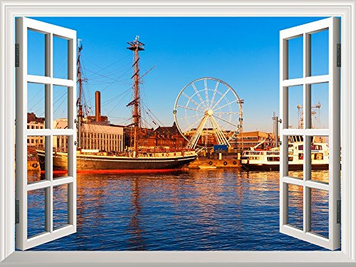 Removable Wall Sticker Wall Mural Majestic River View with a Ferris Wheel and Ships Creative Window View Wall Decor