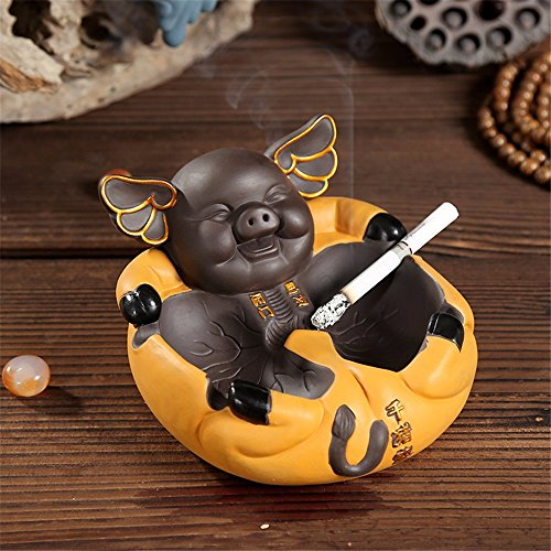 Ceramic purple sand tea pet ornaments creative sex fun pig ashtray by LOSTRYY ashtray