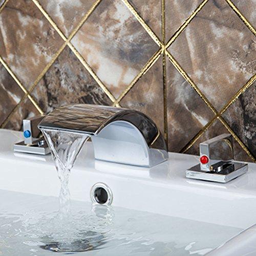 US Yanksmart Deck Mount 3 Pcs Bathroom Tub Mini-spread Waterfall Chrome Finish Mixer Tap Basin Faucets 2 Handles - Minispread Bathroom Faucet Finish