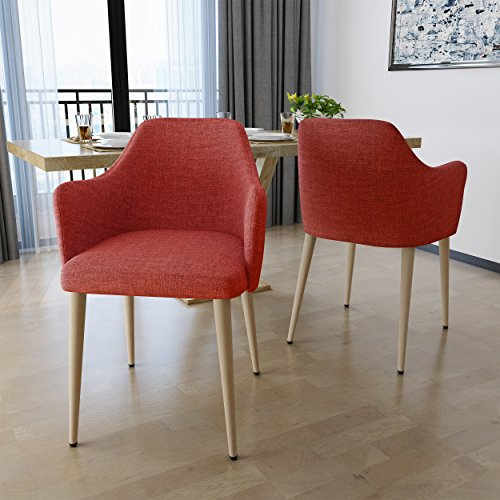 Nande Mid Century Muted Orange Fabric Dining Chairs with Light Walnut Wood Finished Legs (Set of 2)