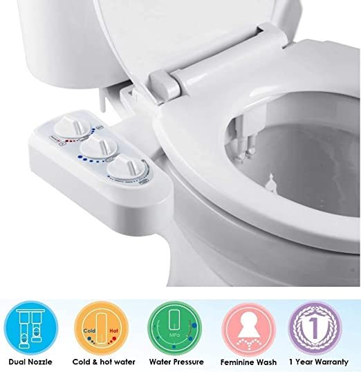 Amazon Com Lohox Bidet Toilet Seat Attachment Non Electric Self Cleaning Dual Nozzle Bidet Attachment Hot And Cold Water Spray Bidet Mechanical Sprayer Kit With Pressure Temperature Control Home Kitchen