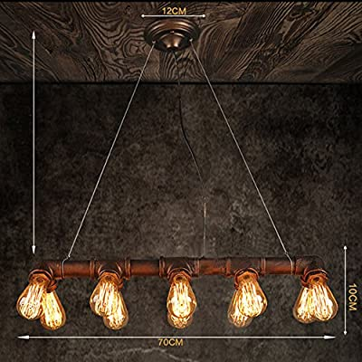 WinSoon Retro INDUSTRIAL STEAMPUNK LAMP IRON PIPE CEILING FIXTURE PENDANT LIGHT VINTAGE (Black)