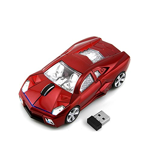 CHUYI Cool Sport Car Shape 2.4Ghz Wireless Mouse 3 Button 1600DPI High Tracking Speed Optical Mouse Gaming Mice USB Receiver for PC Laptop Computer (1600dpi Gaming Mouse)