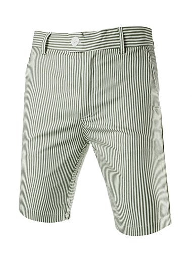 Allegra K Men Vertical Stripes Four Pockets Casual Chino Shorts W36 (Seersucker Flat Front Pants)